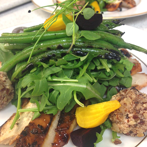 Grilled Green Bean and beet salad with chicken and hazelnut goat cheese fritters