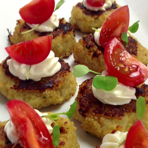 Quinoa Sweet Potato Cakes with Creme Fraich Cherry Tomatoes and Micro-Basil